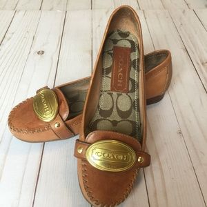 COACH Clare Loafer Cognac Leather Slip-On 7M EUC
